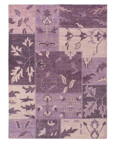 "Hand-Knotted Ushak Patch Wool Rug, Purple, 4' 8"" x 6' 6"""