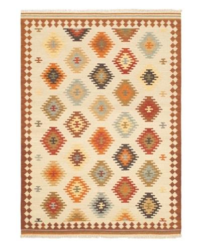 """Hand Woven Ankara Kilim, Brown/Cream, 5' 7"""" x 7' 10"""""""
