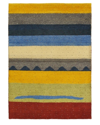 Hand-Knotted Gabbeh Modern Rug, Navy, 4' 9 x 6' 8