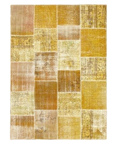 "Handmade Ottoman Yama Patchwork Wool Rug, Yellow, 5' 5"" x 7' 7"""