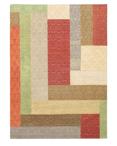 Collage Transitional Dhurrie, Dark Red/Khaki, 5' 7 x 7' 10
