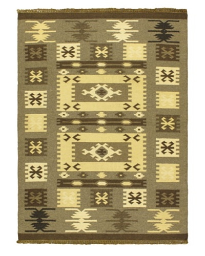 Hand Woven Natural Wool Kilim, Green, 4' 7 x 6' 7
