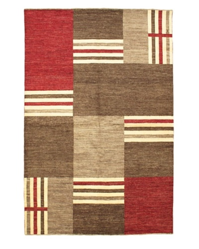 "Gabbeh Modern Rug, Dark Brown/Light Burgundy, 6' 8"" x 10' 1"""
