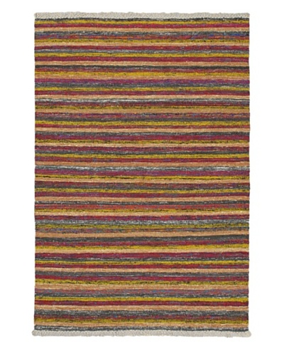 Hand Woven Silky Allure Modern Flatweave Kilim, Purple/Yellow, 4' 7 x 6' 7