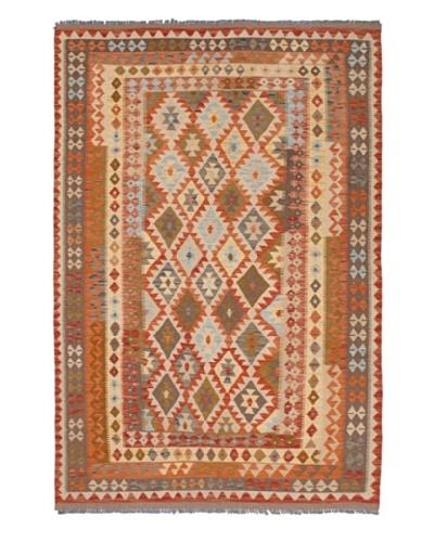 Hand Woven Anatolian Wool Kilim, Copper/Light Gold, 5' 7 x 8' 3