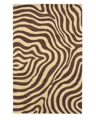 Handmade Trek Rug, Cream/Dark Brown, 5' x 8'