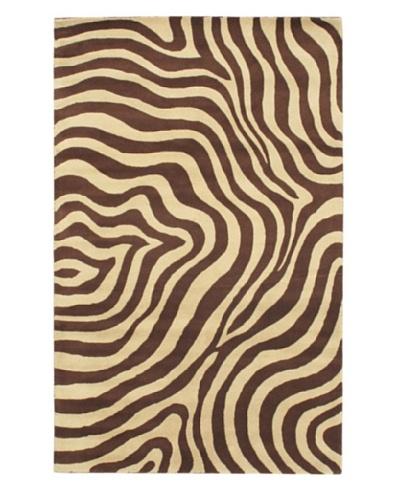 Handmade Trek Rug, Cream/Dark Brown, 5' x 8'
