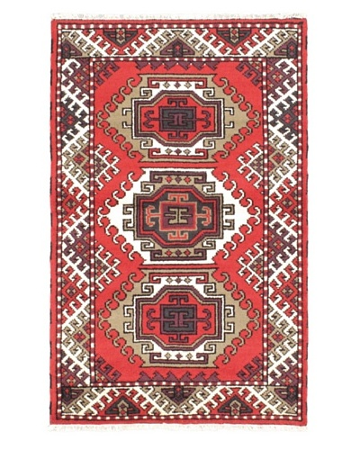 Hand-Knotted Royal Kazak Rug, Red, 3' 1 x 4' 11