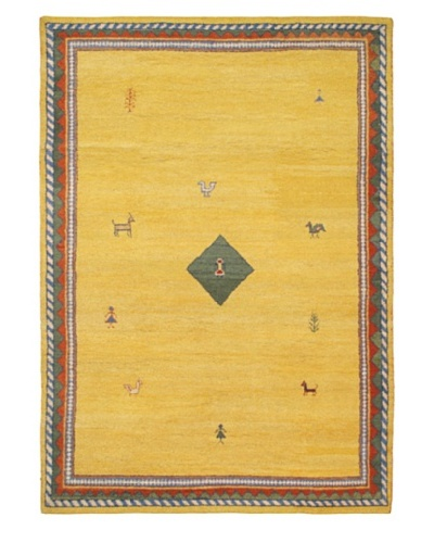 Hand-Knotted Gabbeh Modern Rug, Gold, 6' 8 x 9' 5
