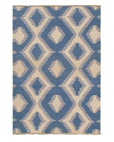 Hand Woven Ankara Flatweave Kilim, Blue/Blue Azure/Cream, 4' 6 x 6' 8