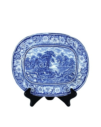 Rural England Serving Plate, White/Blue