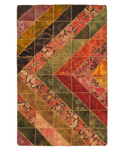 Hand-Knotted Patch Deluxe Wool Rug, Dark Red/Green, 5' 2 x 8' 1