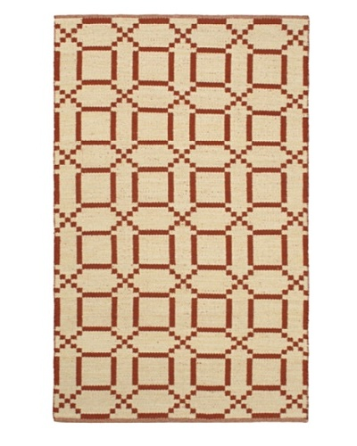Hand Woven Natural Plush Kilim, Cream/Dark Copper, 5' 1 x 7' 7