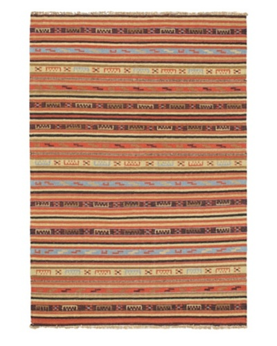 Kashkoli Kilim Traditional Kilim, Copper/Light Gold, 4' 8 x 6' 8