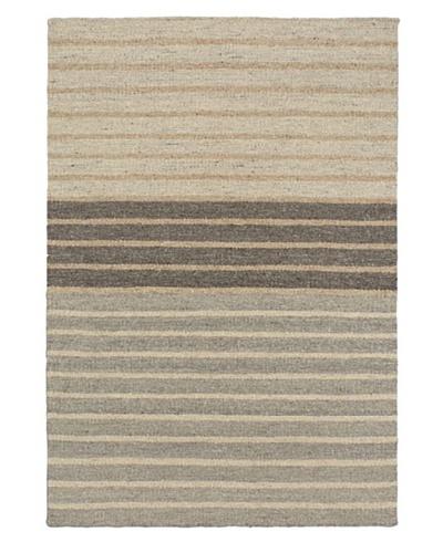 Hand Woven Natural Plush Wool Flatweave Kilim, Cream/Dark Grey/Khaki, 4' 1 x 6'