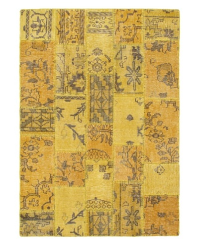 Hand-Knotted Ushak Patch Wool Rug, Gold, 4' 7 x 6' 7