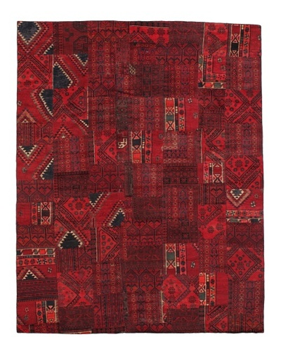 Vintage Patchwork Rug [Red/Charcoal/Brown/Ivory]