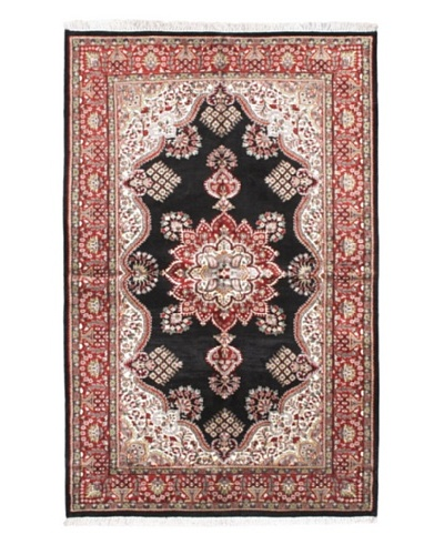 Hand-Knotted Kashmir Kerman Traditional Rug, Black, 4' 11 x 7' 9