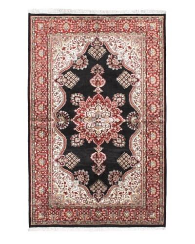 "Hand-Knotted Kashmir Kerman Traditional Rug, Black, 4' 11"" x 7' 9"""