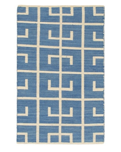 "Hand Woven Natural Plush Kilim, Blue-Azure/Cream, 3' 7"" x 5' 5"""