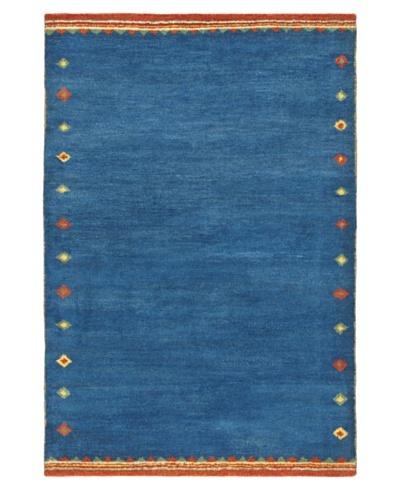 Hand-Knotted Gabbeh Modern Rug, Blue/Azure, 4' 4 x 6' 4