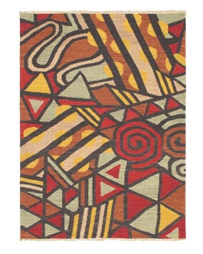 Hand Woven Ankara Flatweave Kilim, Black/Dark Red, 4' 8 x 6' 6