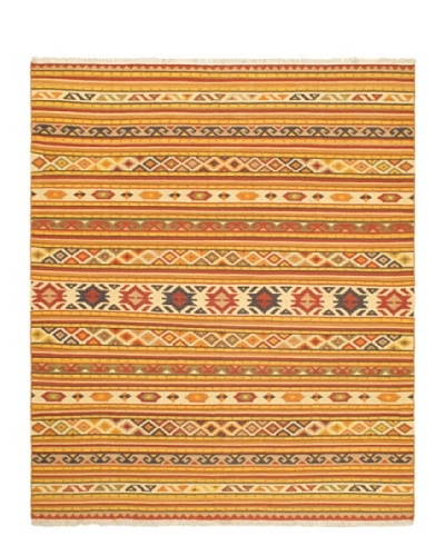 "Hand Woven Izmir Wool Kilim, Light Orange, 8' 2"" x 9' 10"""