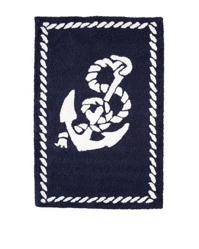 Anchor Hooked Rug, Navy/White, 2' x 3'