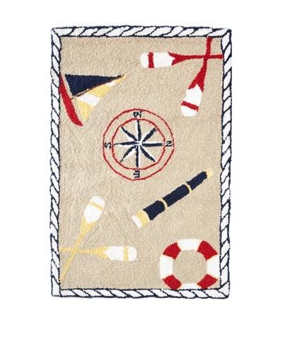Sail Away Hooked Rug, White/Multi, 22 x 34