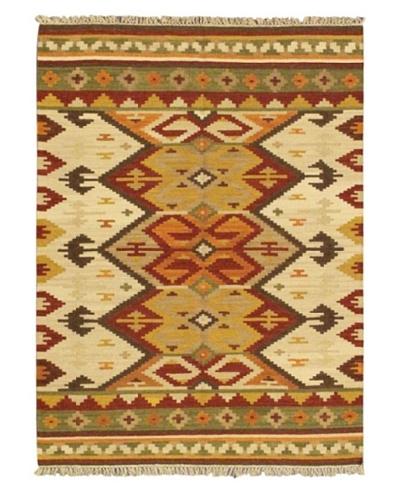 Hand Woven Kashkoli Wool Kilim, Cream, 4' 7 x 6' 7