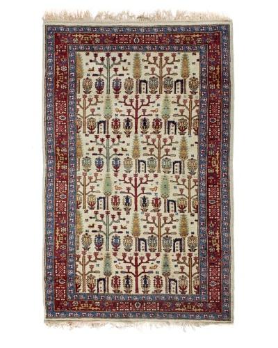 Semi Antique Persian Rug, Cream/Navy/Red/Light Green, 7' 1 x 4' 2