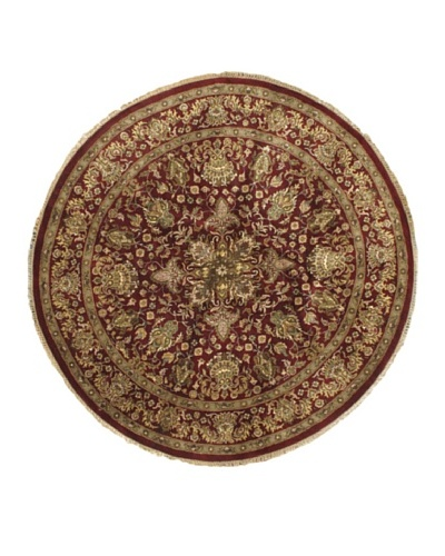 Hand-Knotted Sultanabad Oriental Rug, Light Burgundy, 8' 1 x 8' 3 Round
