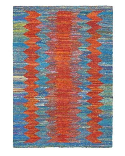 Hand Woven Silky Allure Modern Flatweave Kilim, Blue/Copper, 4' 7 x 6' 7