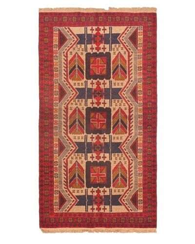 Hand-knotted Royal Balouch Traditional Wool Rug, Red, 3' 8 x 6' 7