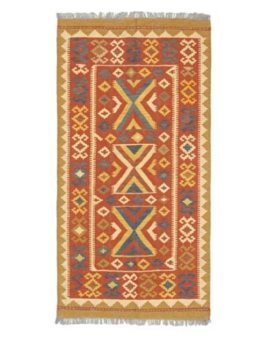 Hand Woven Anatolian Wool Kilim, Dark Copper, 3' 2 x 6' 5