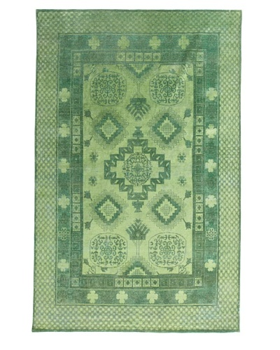 Silk Hand-Knotted Ikat Rug [Green Multi]