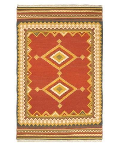 Hand Woven Izmir Wool Kilim, Red, 5' 1 x 7' 8
