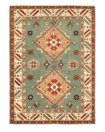 Hand-Knotted Royal Kazak Rug, Teal, 4' 8 x 6' 6