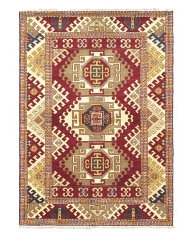 Hand-Knotted Royal Kazak Wool Rug, Dark Red, 5' 7 x 7' 10