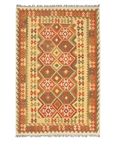 "Hand Woven Hereke Wool Kilim, Copper/Light Yellow, 5' 4"" x 8' 2"""