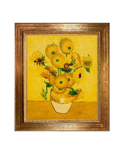 Vincent Van Gogh Vase with Fifteen Sunflowers Framed Oil Painting