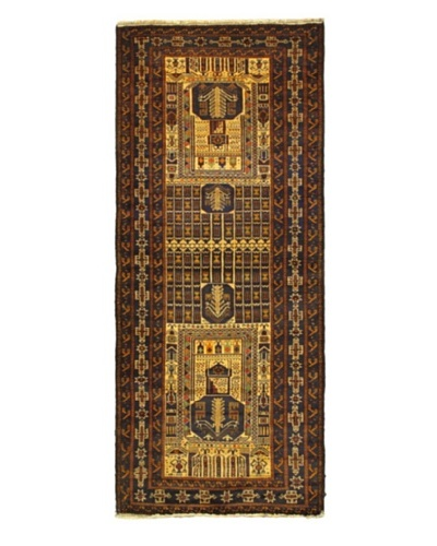 Hand-knotted Rizbaft Traditional Runner Wool Rug, Brown, 3' 5 x 8' 2 Runner