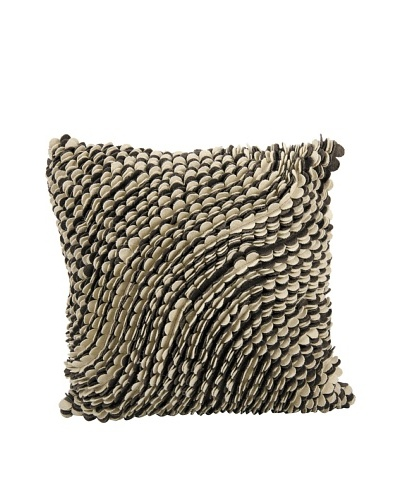 Joseph Abboud Scalloped Waves Pillow, Coffee/Beige, 20 x 20