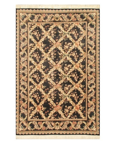 "Hand-Knotted Double Knot Oriental Rug, Black, 6' 1"" x 9' 3"""