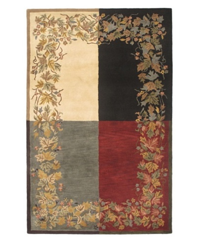 Handmade Athina Modern Wool Rug, Black/Cream/Cyan/Dark Red, 5' x 8'
