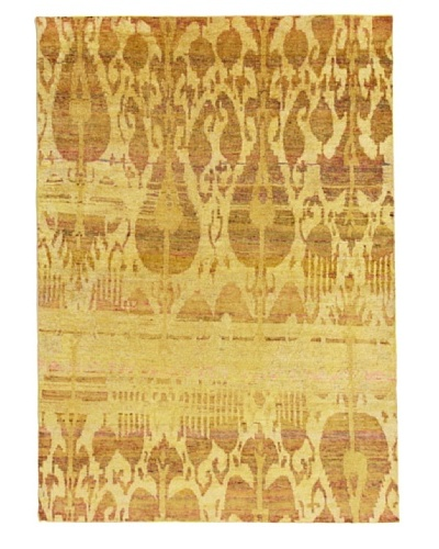 Silk Hand-Knotted Ikat Rug [Tan Multi]