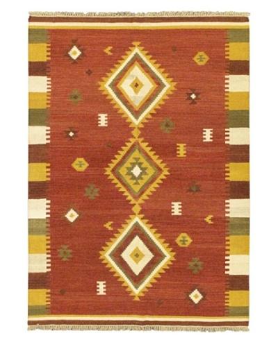 Hand Woven Kashkoli Wool Kilim, Dark Red, 5' 7 x 7' 10