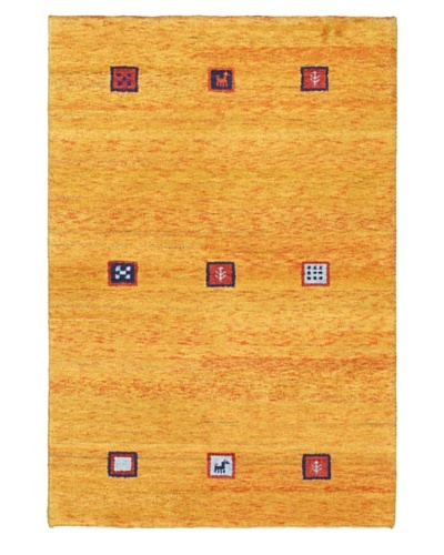 Hand-Knotted Gabbeh Modern Rug, Gold, 4' x 6'