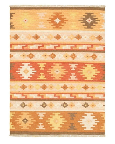 Hand Woven Istanbul Yama Wool Kilim, Beige/Light Orange, 4' 1 x 5' 8