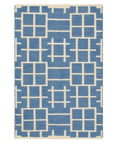 Hand Woven Natural Plush Wool Flatweave Kilim, Blue/Blue Azure/Cream, 3' 7 x 5' 5
